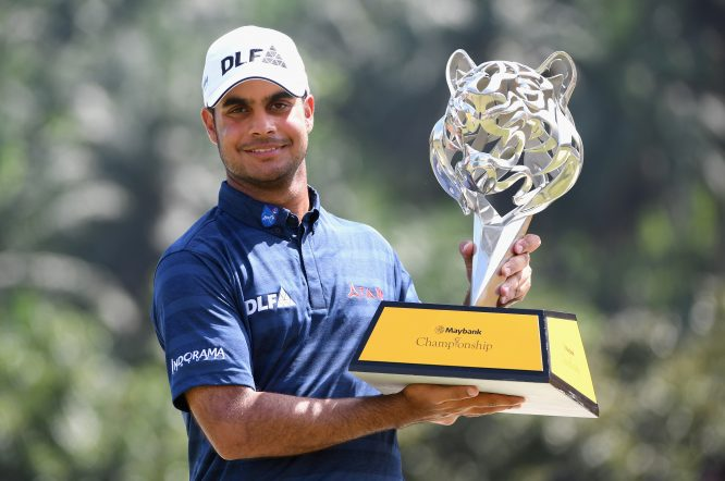 Shubhankar Sharma of India poses with the trophy during day four of the Maybank Championship Malaysia at Saujana Golf and Country Club on February 4, 2018 in Kuala Lumpur, Malaysia. (Photo by Ross Kinnaird/Getty Images)