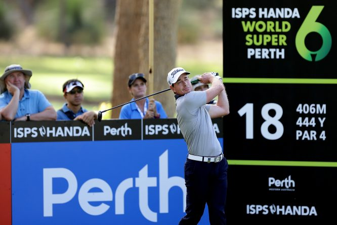 Brett Rumford of Australia plays his tee shot on the 18th during day one of the World Super 6 at Lake Karrinyup Country Club on February 8, 2018 in Perth, Australia. (Photo by Will Russell/Getty Images)