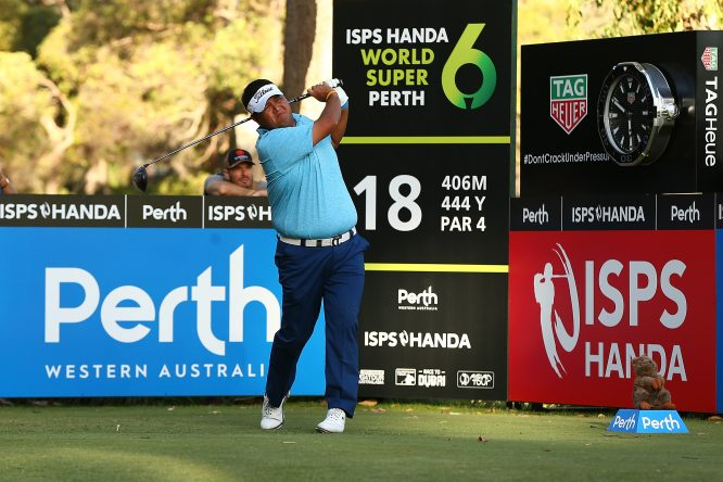 Prom Meesawat of Thailand watches his tee shot on the 18th hole during day two of the World Super 6 at Lake Karrinyup Country Club on February 9, 2018 in Perth, Australia. (Photo by Paul Kane/Getty Images)