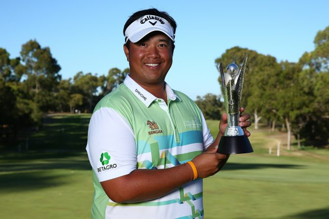 Kiradech Aphibarnrat of Thailand holds the trophy after winning the final match against James Nitties of Australia during day four of the World Super 6 at Lake Karrinyup Country Club on February 11, 2018 in Perth, Australia. (Photo by Paul Kane/Getty Images)