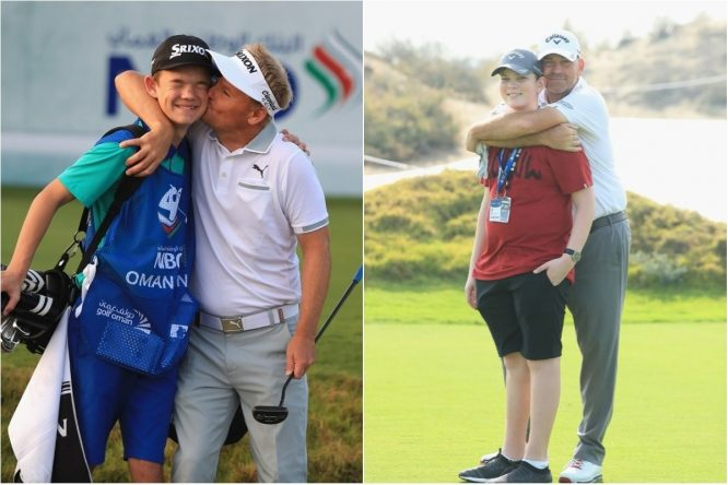Søren Kjeldsen with son Emil and Thomas Bjørn with son Oliver during the Pro Am prior to the start of the NBO Oman Open at Al Mouj Golf on February 14, 2018 in Muscat, Oman. (Photo by Andrew Redington/Getty Images)