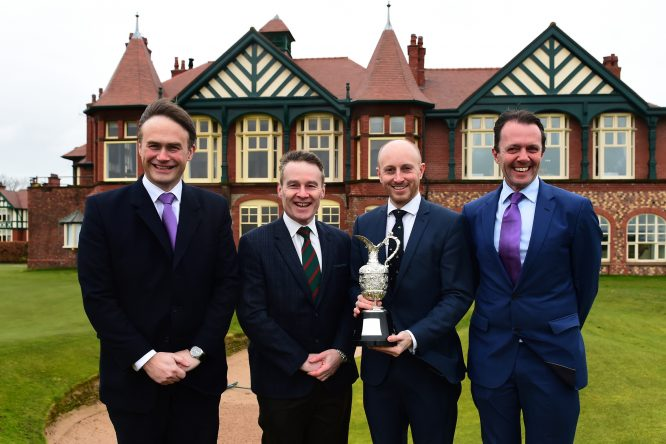 R&A Executive Director of Championships Johnnie Cole-Hamilton, Royal Lytham & St Annes Golf Club Chairman of the Championship Committee Alan Ker, Royal Lytham & St Annes Golf Club Secretary Charles Grimley and Head of the Staysure Tour David Maclaren pose with the Senior Open Claret Jug at the announcement of Royal Lytham & St Annes Golf Club as the host venue for the 2019 Senior Open Championship, presented by Rolex at Royal Lytham & St Annes Golf Club on February 14, 2018 in Lytham St Annes, England. (Photo by Richard Martin-Roberts/Getty Images) *** Local Caption *** Alan Ker;Johnnie Cole-Hamilton;David Maclaren