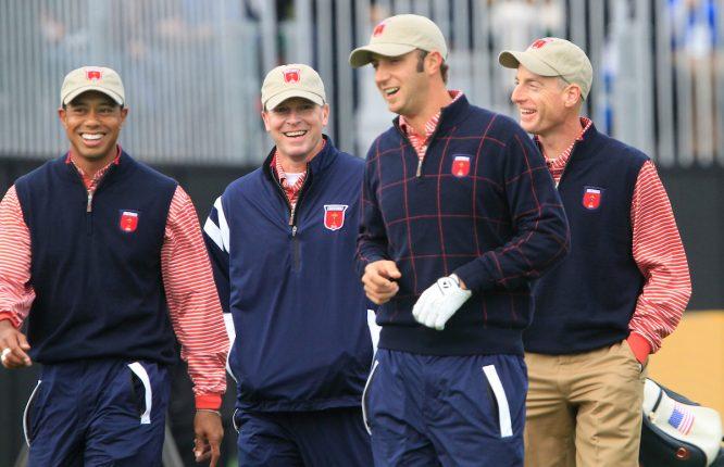 Tiger Woods, junto a Stricker, Furyk y Dustin Johnson en la Ryder de 2010. Volverán a coincidir en 2018. © Golffile
