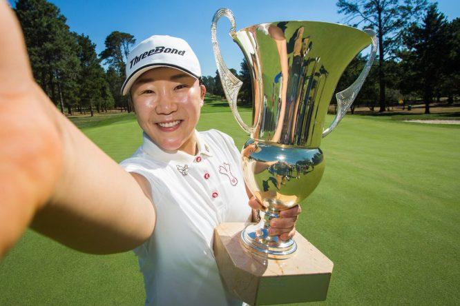 El tradicional selfie de la campeona de Jiyai Shin en Australia.