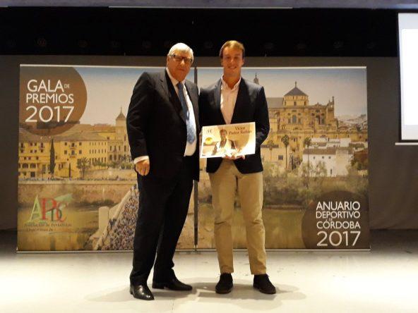 Víctor Pastor durante el reconocimiento recibido el pasado lunes por la Asociación de la Prensa Deportiva de Córdoba.