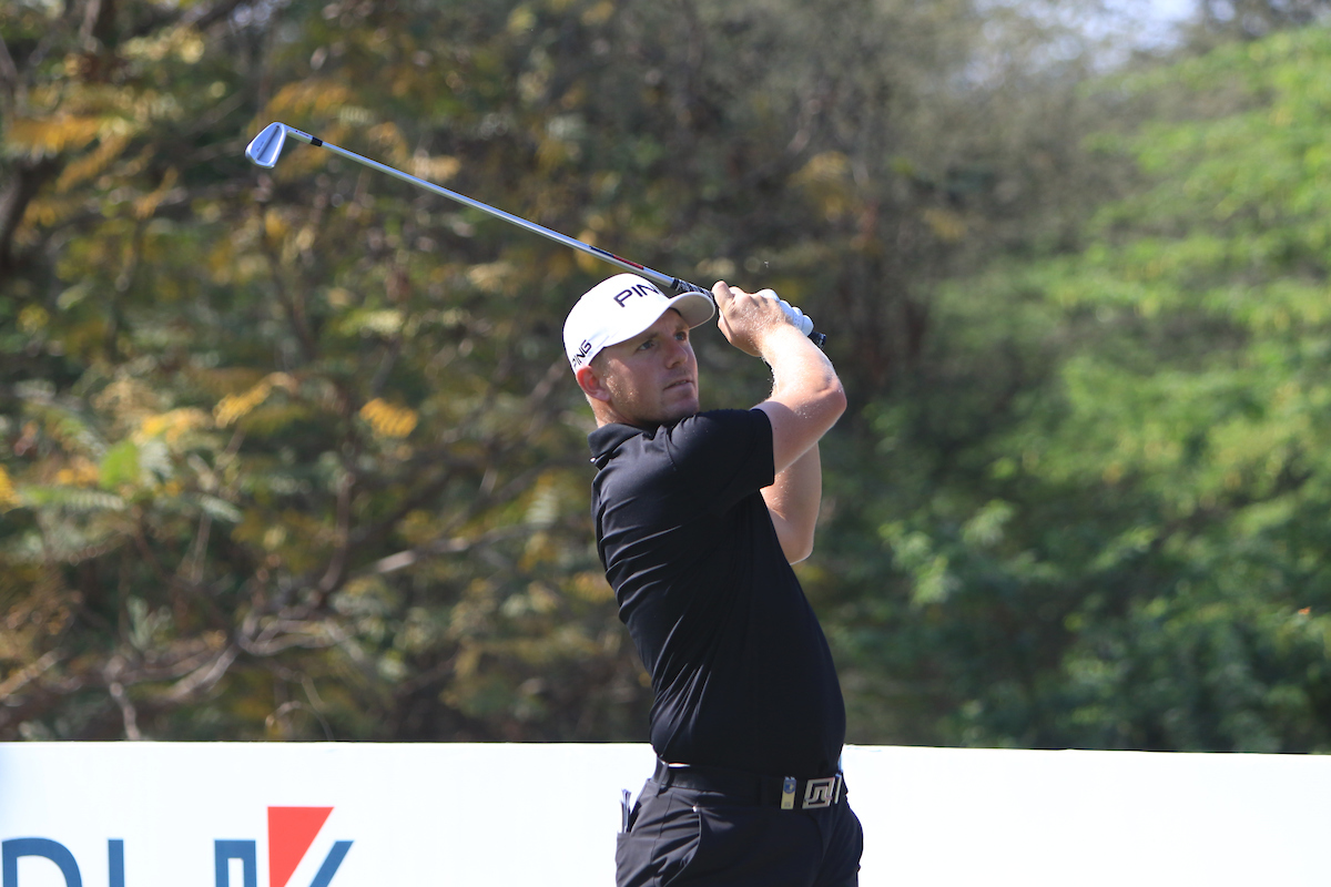 Matt Wallace en el hoyo 11 del DLF Golf durante la tercera ronda. © Golffile | Thos Caffrey