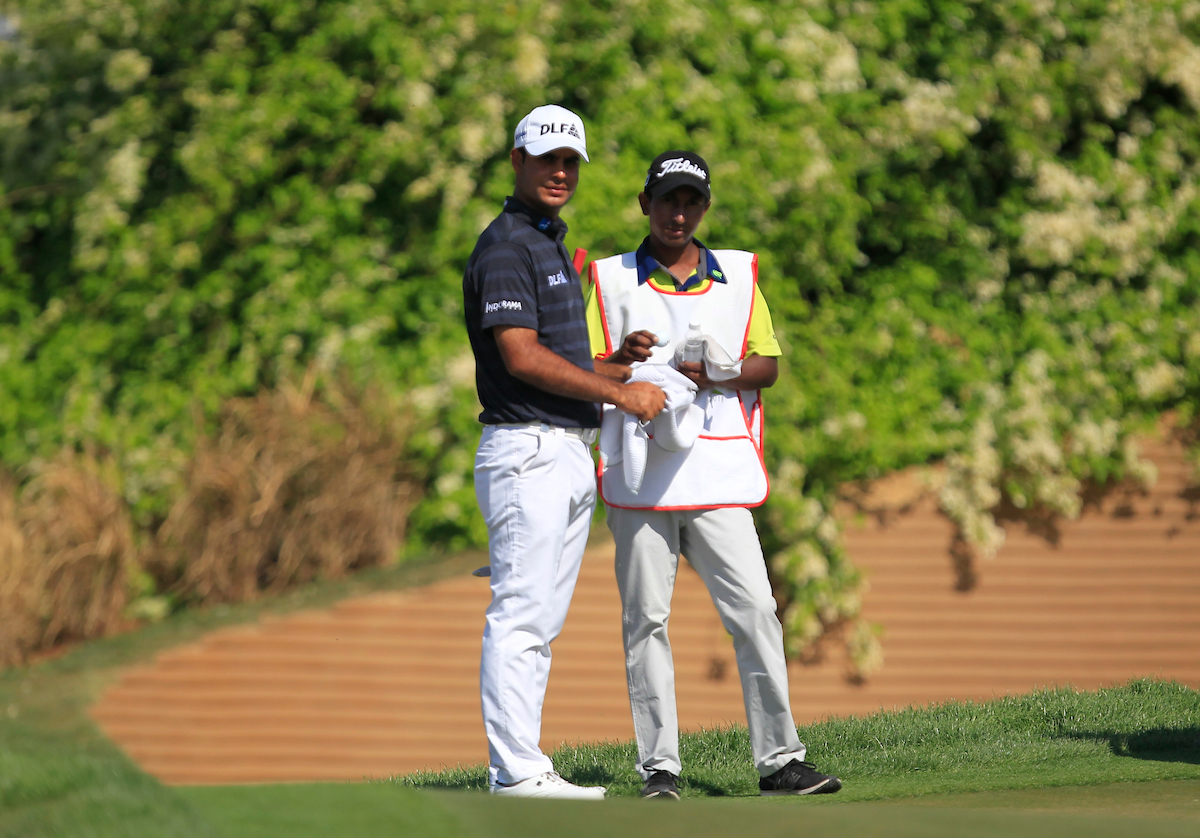 Shubhankar Sharma en la tercera ronda del Hero Indian Open. © Golffile | Thos Caffrey