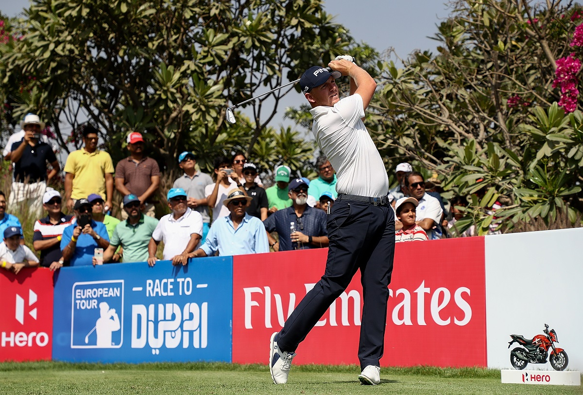 Matt Wallace of England hits his tee shot on the 16th hole during day four of The Hero Indian Open at Dlf Golf and Country Club on March 11, 2018 in New Delhi, India.  (Photo by Matthew Lewis/Getty Images)