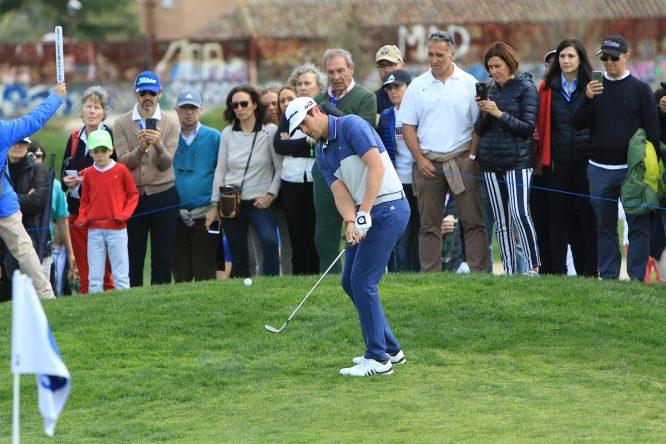 Nacho Elvira en el hoyo 10 durante la tercera ronda del Open de España. © Golffile | Thos Caffrey