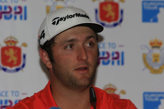 Jon Rahm en la rueda de prensa tras ganar el Open de España. © Golffile | Thos Caffrey
