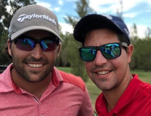 Mario Galiano y Francisco Mateo, su caddie.