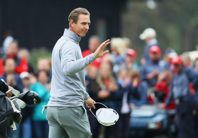 Nicolas Colsaerts of Belgium acknowledges the crowds after winning his match against Richie Ramsay of Scotland during the knockout stage on day three of the Belgian Knockout at Rinkven International Golf Club on May 19, 2018 in Antwerpen, Belgium. (Photo by Warren Little/Getty Images)