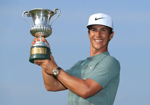 Thorbjorn Olesen of Denmark poses with the Italian Open trophy after victory in the competition during the final round of the Italian Open at Gardagolf Country Club on June 3, 2018 in Brescia, Italy. (Photo by Andrew Redington/Getty Images)