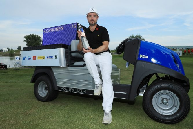 Mikko Korhonen of Finland pose for a photo with his trophy after winning The 2018 Shot Clock Masters during day four of The 2018 Shot Clock Masters at Diamond Country Club on June 10, 2018 in Atzenbrugg, Austria. (Photo by Matthew Lewis/Getty Images)