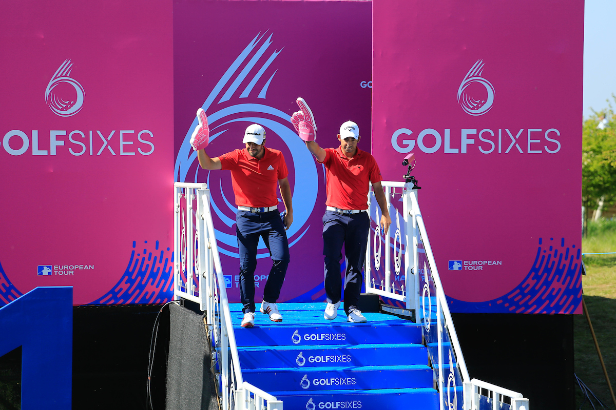 Pablo Larrazábal y Adrián Otaegui en el GolfSixes 2018. © Golffile | Phil Inglis