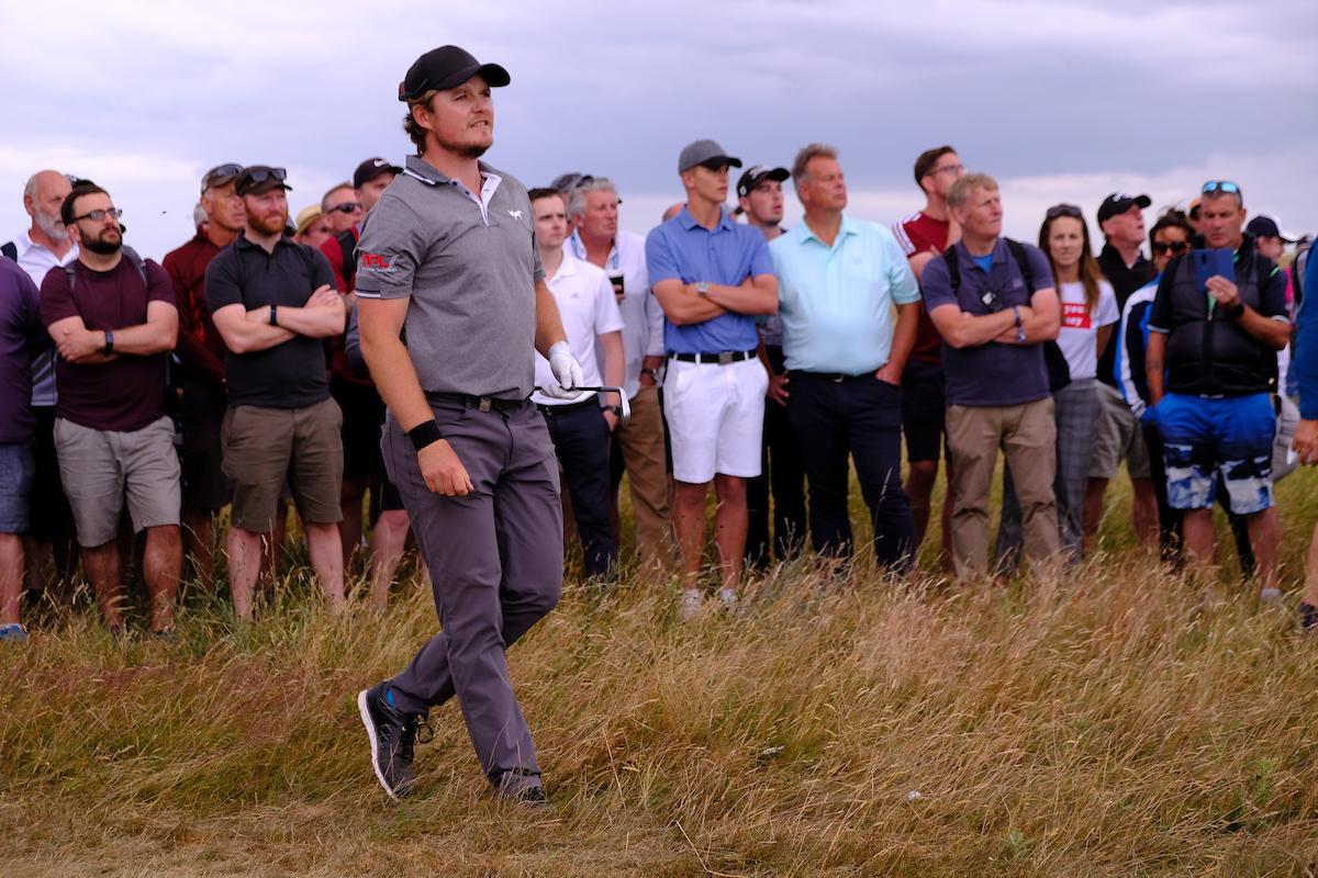 Eddie Pepperell en la ronda final en Gullane. © Golffile | Fran Caffrey
