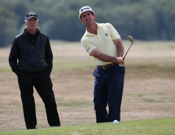 Gonzalo Fernández Castaño trabajando con Pete Cowan este miércoles en el Gullane Golf Club. © Golffile | David Lloyd