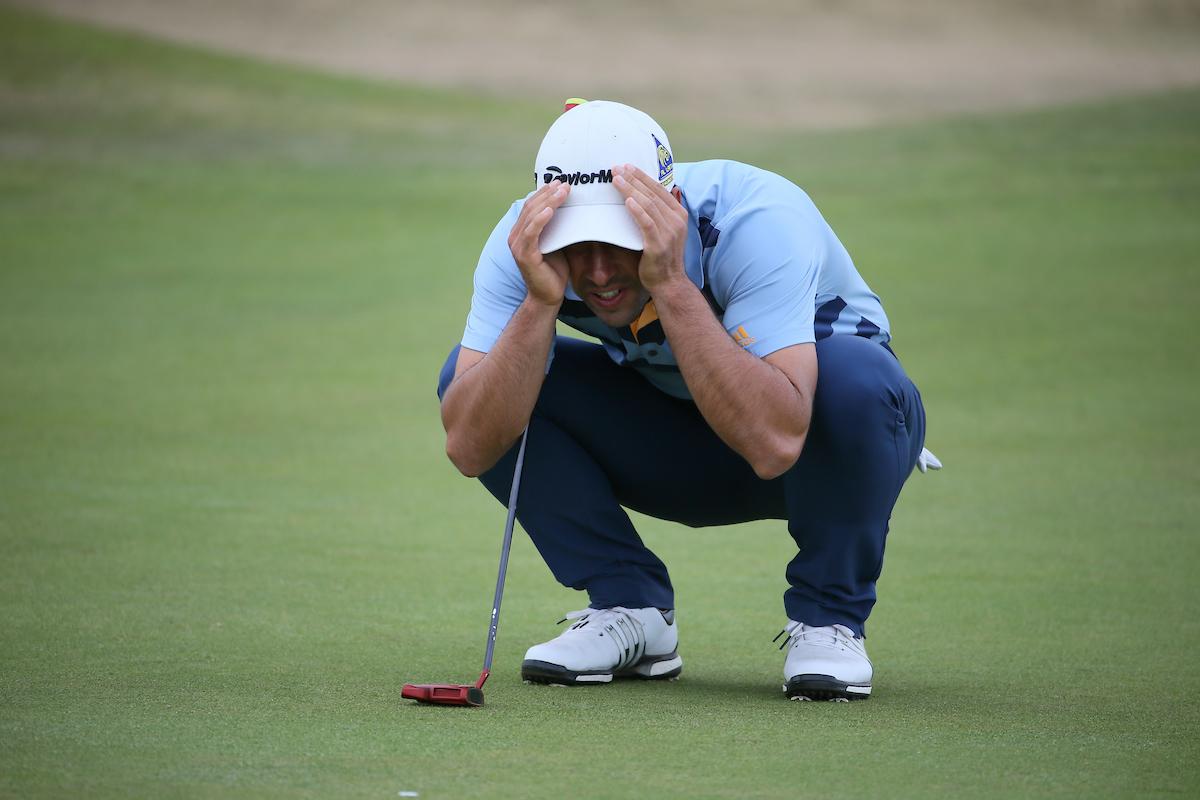 Adrián Otaegui durante la primera jornada en Gullane. © Golffile | David Lloyd