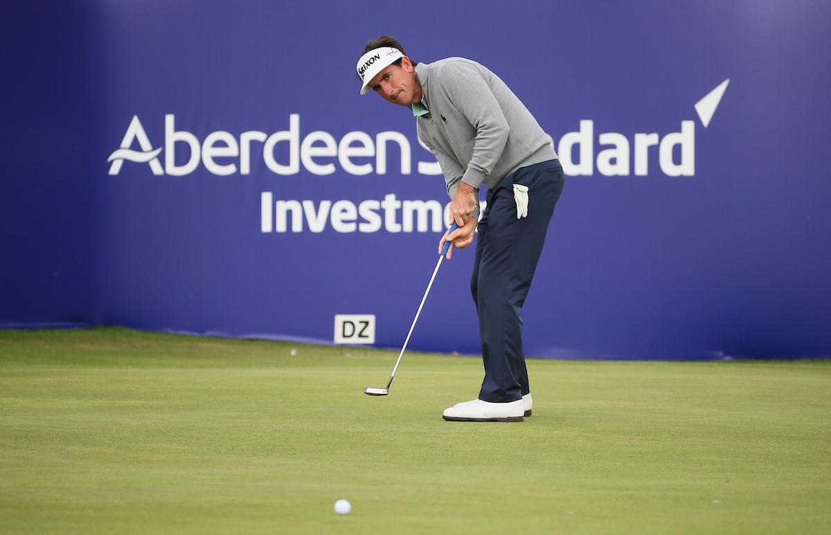 Gonzalo Fernández Castaño en el green del hoyo 18 durante la segunda jornada del Open de Escocia. © Golffile   David Lloyd