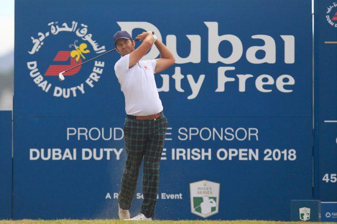 Jorge Campillo en la salida del hoyo 18 durante la jornada final del Open de Irlanda. © Golffile | Thos Caffrey