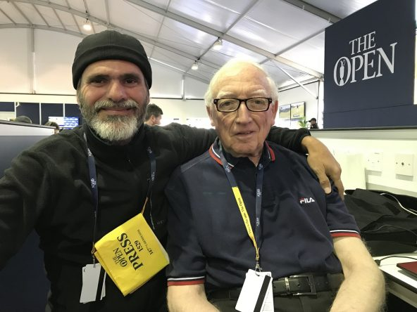 Jock MacVicar and David Durán in the press room of this 147th edition of the Open Championship.  © Tengolf