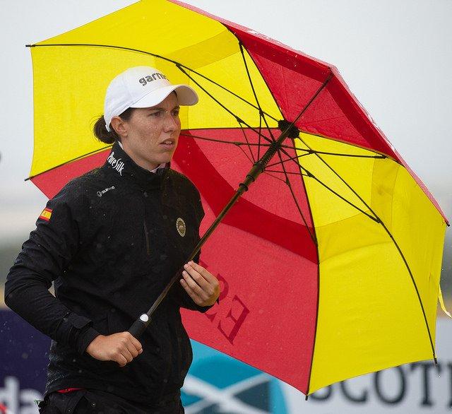 Carlota Ciganda hoy domingo en el Gullane Golf Club.