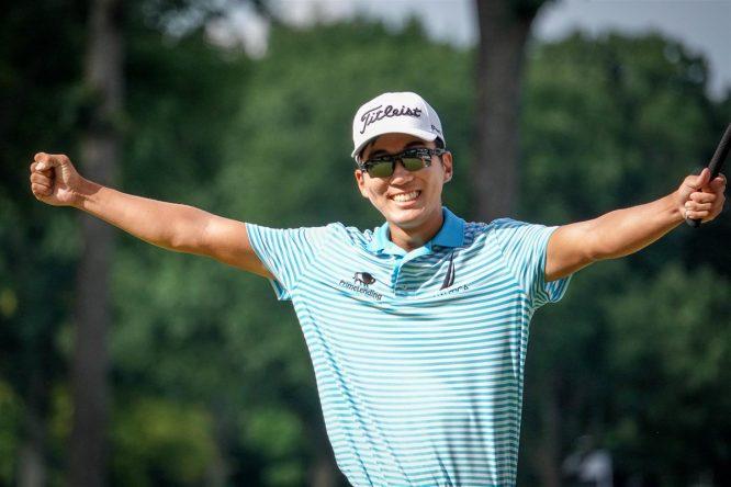 Michael Kim celebra su exhibición en el John Deere Classic. © PGA Tour