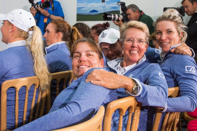 Marta Figueras Dotti, junto a Karine Icher y Melissa Reid en la pasada Solheim Cup.