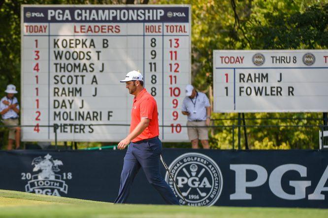 Jon Rahm durante la jornada final del PGA Championship. © Golffile | Ken Murray