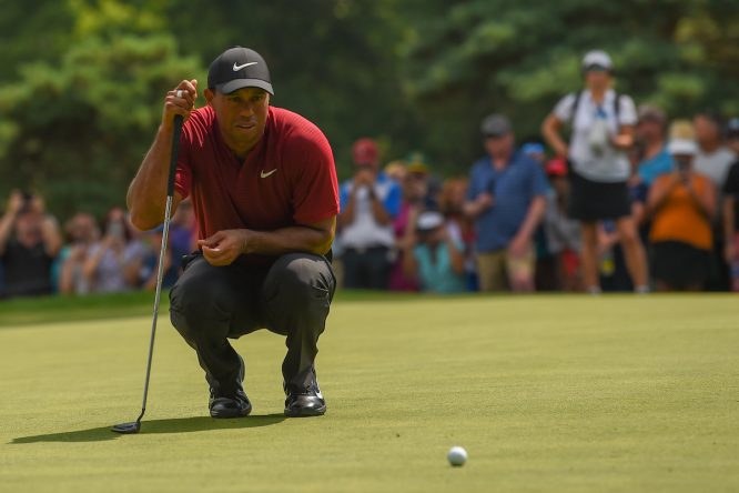 Tiger Woods, durante su última ronda en el Firestone Country Club. © Golffile | Ken Murray