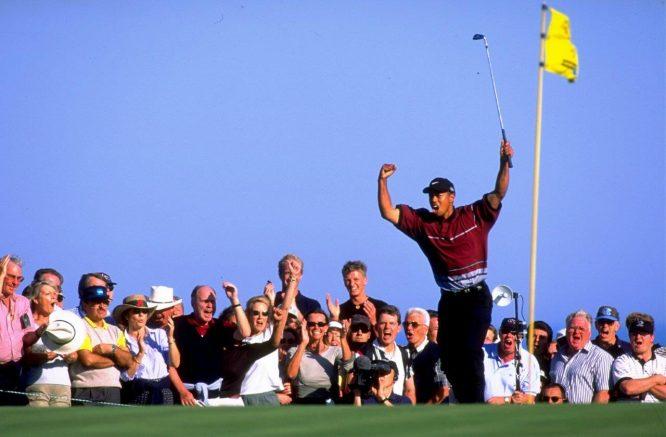 Tiger Woods derrotó en el desempate del WGC American Express de 1999 a Miguel Ángel Jiménez. © Getty Images