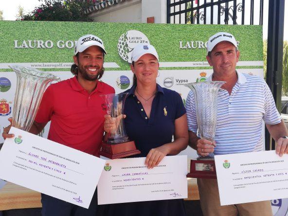 Álvaro Arizabaleta, Laura Cabanillas y Víctor Casado, ganadores del Circuito Andaluz de Profesionales 2018. © RFGA
