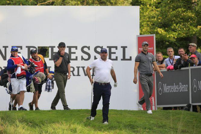 Thomas Bjorn, en el partido en Dinamarca junto a Eddie Peperell. © Golffile   Thos Caffrey