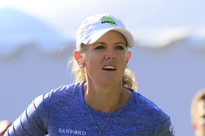 Amy Olson, durante la tercera ronda en el Evian Championship. © Golffile | Eoin Clarke