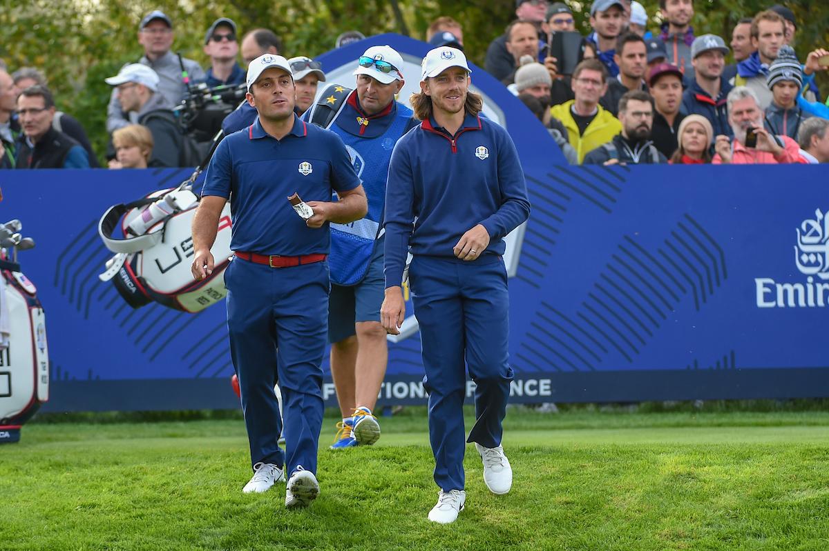 d4315d9339626 Francesco Molinari y Tommy Fleetwood hoy viernes en el Golf National. ©  Golffile