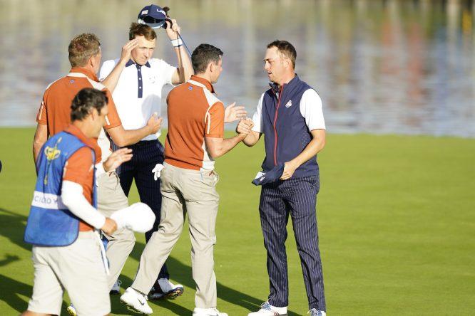 Ian Poulter, Jordan Spieth, Rory McIlroy y Justin Thomas en los foursomes de hoy sábado. © Golffile | Fran Caffrey