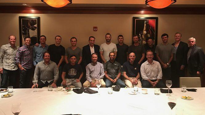 Mike Krzyzewski, con el equipo estadounidense de la Ryder Cup