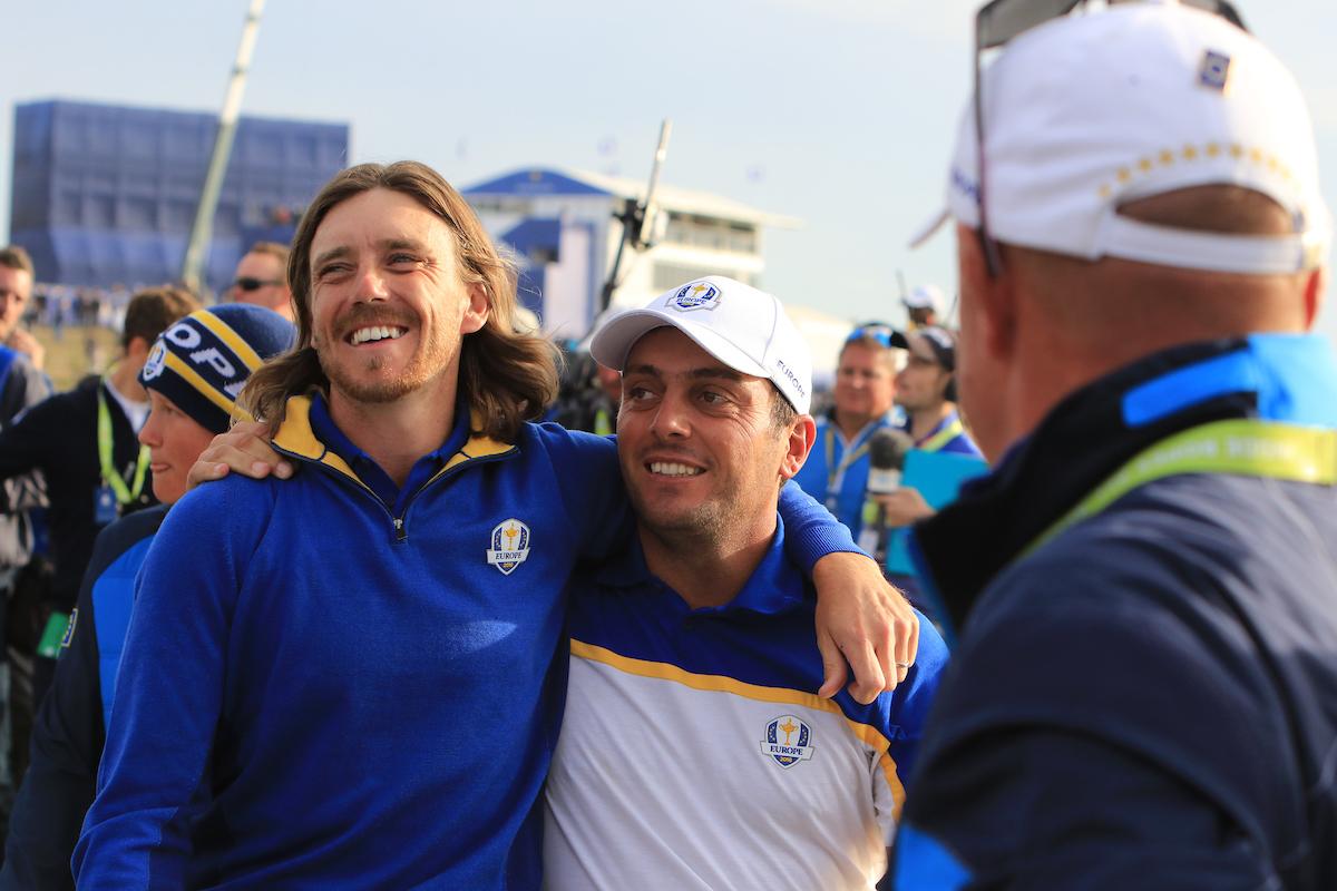 Tommy Fleetwood y Francesco Molinari celebran la victoria del equipo europeo. © Golffile | Thos Caffrey