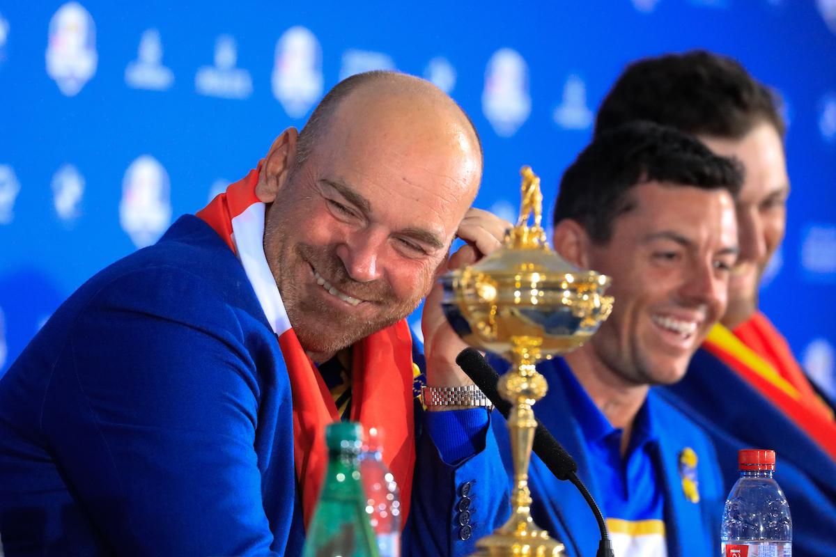Thomas Bjorn en la rueda de prensa tras el triunfo del equipo europeo europeo en la Ryder Cup 2018. © Golffile | Phil Inglis
