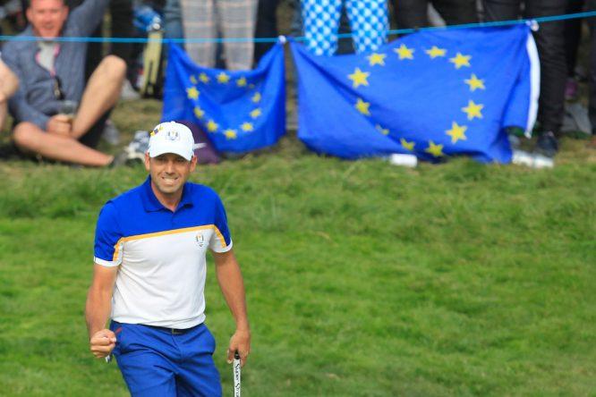 Sergio García celebra un putt en los individuales de la Ryder Cup de París. © Golffile   Thos Caffrey