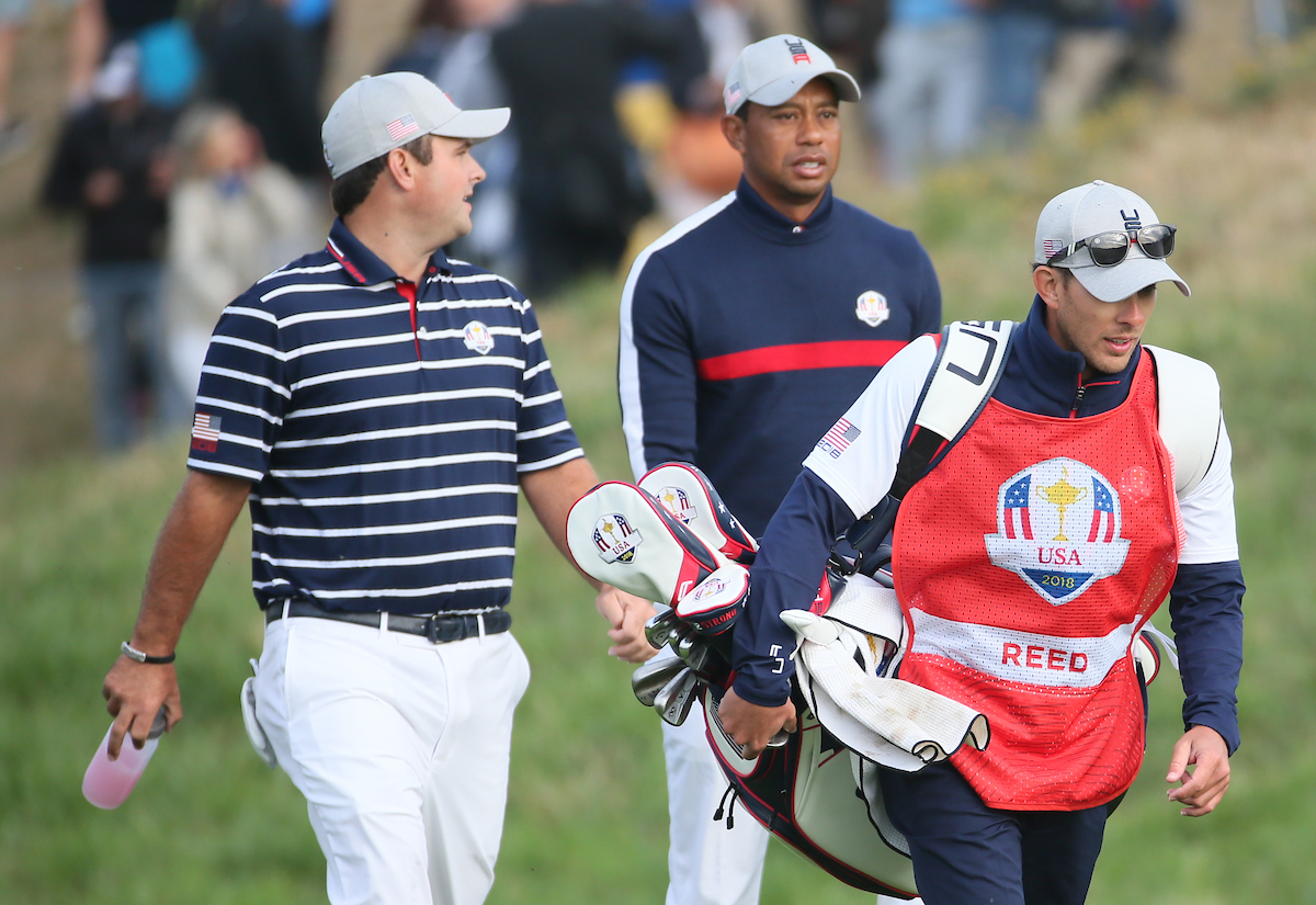 Patrick Reed y Tiger Woods. © Golffile | David Lloyd
