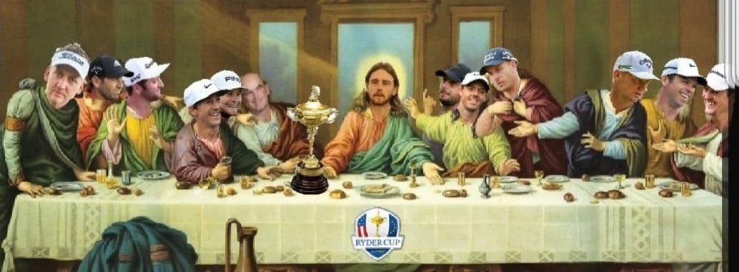 Montaje que circuló por Twitter tras el triunfo de Europa con el equipo de Bjorn y la última cena.