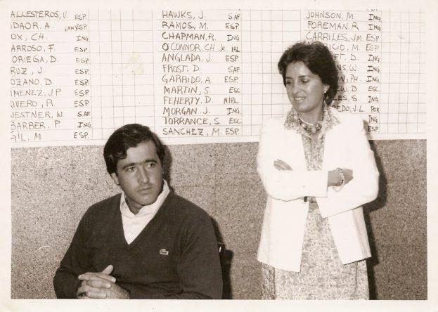 María Acacia y Seve, en El Prat en 1984.