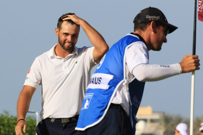Adriá Arnaus, segundos después de ganar el Ras Al Khaimah Challenge Tour Grand Final. © Golffile | Phil Inglis