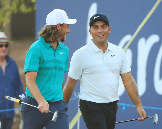 Tommy Fleetwood y Francesco Molinari en la primera ronda en el Jumeirah Golf Estates. © European Tour
