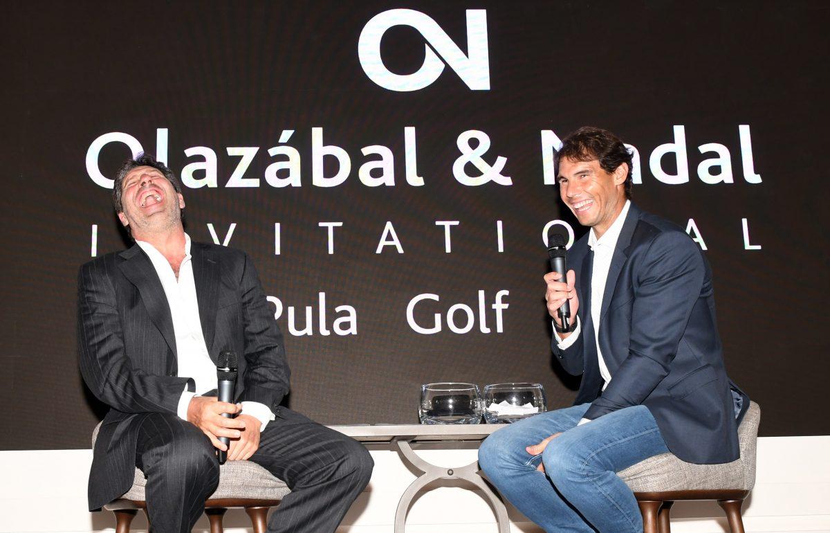 José María Olazábal y Rafael Nadal en la inauguración del torneo solidario en Pula Golf Resort. © Luis Corralo