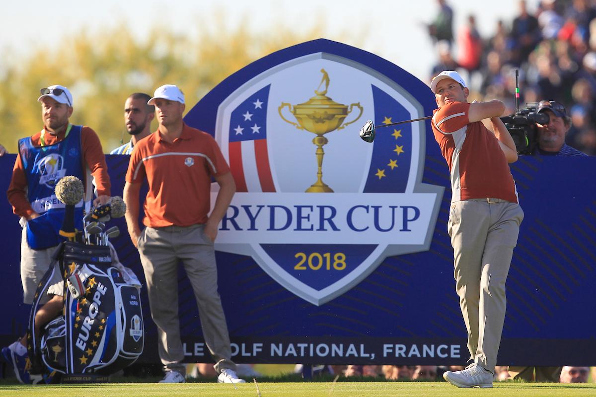 Sergio García y Alex Noren el sábado de la Ryder en Le Golf National. © Golffile | Thos Caffrey