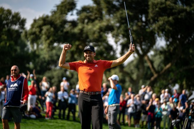 Sergio García celebra su triunfo en el Andalucía Valderrama Masters 2018. © Golffile | Eoin Clarke