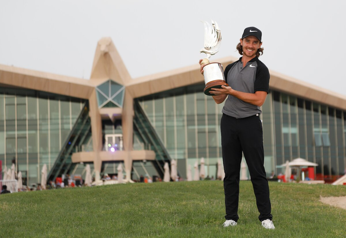 Tommy Fleetwood, tras su triunfo en el Abu Dhabi HSBC Championship 2017. © Golffile | Fran Caffrey