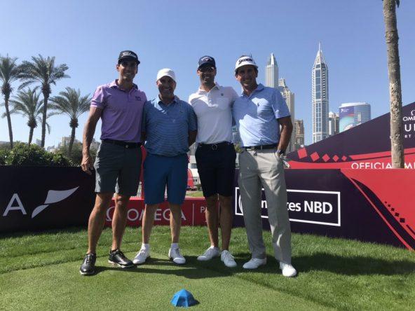 Rafa Cabrera Bello, José María Olazábal, Álvaro Quirós y Gonzalo Fernández Castaño, en el tee del 1 del Emirates.